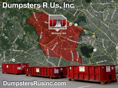 Dumpster rental MA. Belmont, MA Dumpster rentals by Dumpsters R Us, Inc.