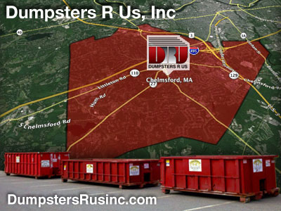 10, 15, 20 & 30yard dumpster rentals in Chelmsford, Massachusetts by Dumpsters R Us, Inc