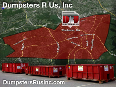 Dumpster rental MA. Winchester, MA Dumpster rentals by Dumpsters R Us, Inc.