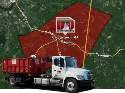 Dumpster rental Georgetown MA delivered by Dumpsters R Us, Inc