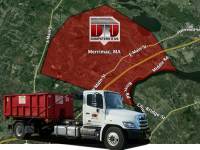 Dumpster Rental Merrimac MA. Delivered by Dumpsters R Us, Inc