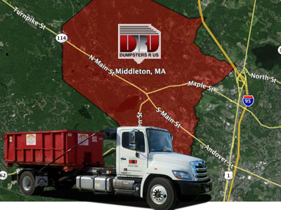 Dumpster Rental Middleton, MA. Delivery by Dumpsters R Us, Inc