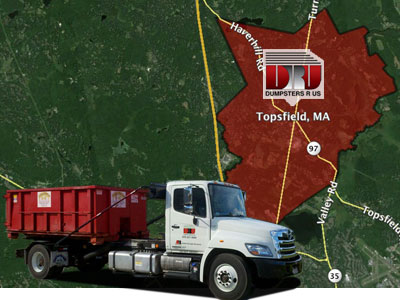 Dumpster Rental Topsfield, MA. Delivered by Dumpsters R Us, Inc
