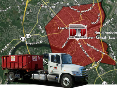 Dumpster Rental Lawrence, MA. Dumpsters R Us, Inc delivers to 01840, 01841, 01842, 01843